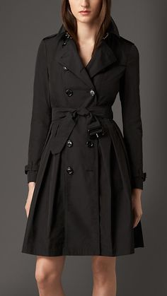 Black Skirted Trench Coat - Image 1