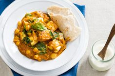 Paneer, spinach & chickpea curry
