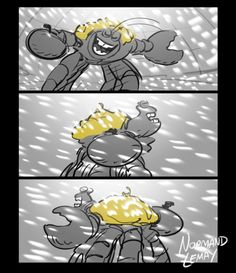 Tamatoa taking Moana for a spin. Storyboard panels from the...