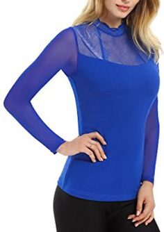 Yulee Women's Lace Thermal Turtleneck Pullover Top Shirt Solid Fitted Blouse