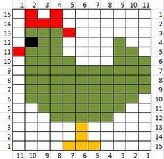 A tiny chicken chart, to use in knitting. I duplicate stitched mine.