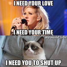 """Ellie Goulding: """"I need your love. I need your time."""" Grumpy Cat: """"I need you to shut up."""" Lol, aw, but I like that song."""