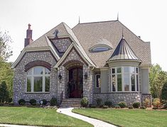Elevation of European House Plan 97098 European Plan, European House Plans, European Style, Castle House Plans, Modern Castle House, Castle Homes, Small Castles, Narrow Lot House Plans, French Country House Plans