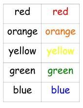color sorting printable for pocket chart