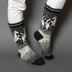 socks women horse wool white grey pattern by helgihandicraft
