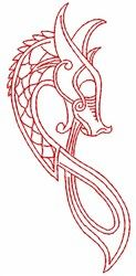 FavPro Designs Embroidery Design: Celtic Dragon 3.45 inches H x 1.58 inches W