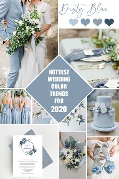 Hottest Wedding Color Trends for 2020 - Dusty Blue.Dusty blue is a very popular color for weddings this year and it is going strong into It took the wedding industry by storm with it's romance and ele# Blue Botanical Wedding Invitations, Wedding Invitation Suite, Shower Invitation, Party Invitations, Dusty Blue Weddings, Dusty Blue Bridesmaid Dresses, Gold Weddings, Rustic Weddings, Wedding Details