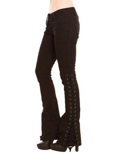Lace up bell bottoms! <3 I'd love a pair that had the lacing going all the way up. (would prefer blue jeans to black Thrifted are fine)