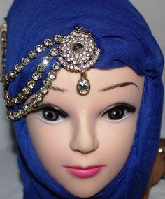 Gold Diamante Hijab Matha Patti Chain Head Piece Bridal Costume Jewellery