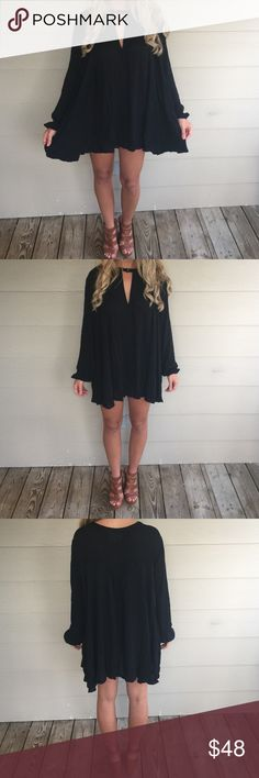 Midnight dress Black dress. Can be worn as a shirt or dress! Free shipping on blushinglilyboutique.com  Dresses Mini