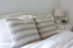 Beige, Blue Ticking Grain Sack, Feed Sack Style Pillow Cover, 18x18 Farmhouse Pillow, Rustic Throw Pillows, Burlap Pillow, Vintage Thro