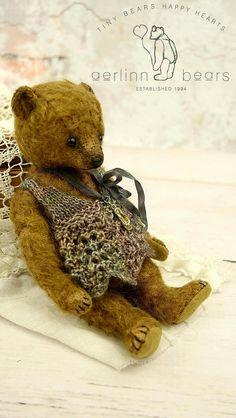 Indie, Miniature Brown Mohair Artist Teddy Bear Girl from Aerlinn Bears