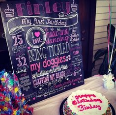 Customized chalkboard poster for 1st birthday party - 16x20 Printable File