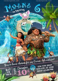 Disney Moana Party Invitation, Ocean Maui Birthday Invite