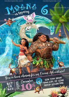 Disney Moana Party Invitation, Ocean Maui Birthday Invite