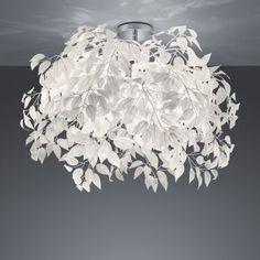 Moderne Deckenleuchte aus Chrom mit schmuckvollen Blättern aus weißem Kunststoff - 2 Größen | WOHNLICHT