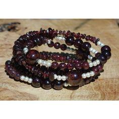 Garnet Stone Bracelet Statement Bracelet Red Garnet Natural Stones... ($49) ❤ liked on Polyvore featuring jewelry and bracelets