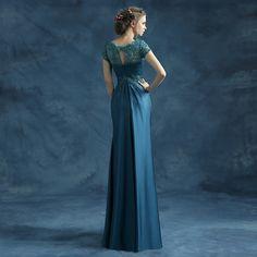 Gorgeous Navy Blue Long Evening Dresses 2016 New Bride Banquet Lace Flowers Embroidery Sequins Vintage Elegant Formal Prom Dress