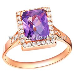 Square Purple Zircon Pave Rosegold Plated Brass Rings, $3.08, code:40445