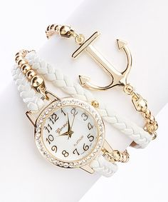 White Anchor Bracelet Watch zulily I had no idea that there were so many pretty things in this world Cute Jewelry, Jewelry Accessories, Fashion Accessories, Fashion Jewelry, Nautical Jewelry, Jewlery, Women's Fashion, Cute Watches, Wrap Watches