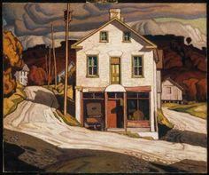 "This was a reproduction I did for a painting class. This is based on ""Old store at Salem"" by A J Casson, from the Group of Seven. A J Casson Reproduction Tom Thomson, Emily Carr, Canadian Painters, Canadian Artists, Mary Cassatt, Vincent Van Gogh, Landscape Art, Landscape Paintings, Urban Landscape"