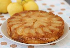 My Kitchen Snippets: Asian Pear Upside Down Cake My cheat version: half a yellow box cake mix. Sprinkle of coriander ginger and lemon peel. Add cinnamon sugar over the caramel and Asian apple. Pear Recipes Baking, Asian Pear Recipes, Cake Mix Recipes, Asian Pear Pie Recipe, Desert Recipes, Fall Recipes, Sweet Recipes, Just Desserts, Delicious Desserts