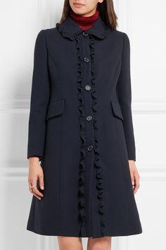 Miu Miu ruffle trimmed wool crepe coat