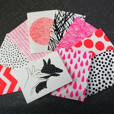 From Harvest workroom - love that place  Image of SET OF 10 HANDPRINTED CARDS