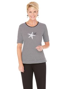 Fashionable stripe shirt with embroidered starfish artwork | Film Festival Separates Tee