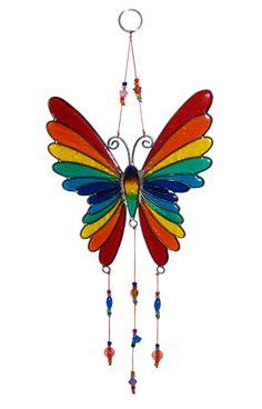 BUTTERFLY závěsná vitrážová dekorace - fair trade oblečení z biobavlny, bambusu, konopí, modalu, tencelu a merino, přírodní kosmetika, bambucké máslo, fairtrade bytové doplňky