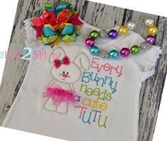 """Bunny Tutu Applique Design for machine embroidery (Words NOT included)  Font """"One Thing"""" sold separately. $4.00, via Etsy."""