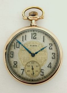 ac7a1727fa40 1927 Elgin 16s Grade 291 Art Deco Pocket Watch Runs Two Toned Dial 20 Year  Gold Filled Case
