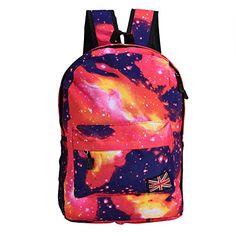 2 Colors Fashionable Starry Canvas Backpack Schoolbag Shoulder Bag School Satchel(Red) #Colors #Fashionable #Starry #Canvas #Backpack #Schoolbag #Shoulder #School #Satchel(Red)