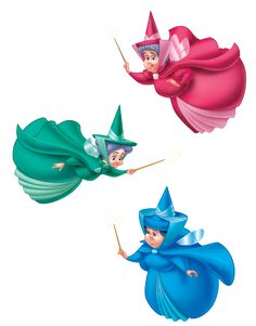 Flora, Fauna and Merryweather - Disney Wiki - Wikia Sleeping Beauty Party, Sleeping Beauty Fairies, Sleeping Beauty Maleficent, Disney Sleeping Beauty, Sleeping Beauty Tattoo, Disney Wiki, Disney Art, Disney Magic, Disney Pixar