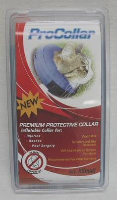 """$14.03-$17.99 Contech ProCollar Protective Collar, Extra Small - Protects pets from reaching injuries, rashes or post surgery wounds. Unlike traditional """"lampshade"""" cones, the procollar allows pets to eat, sleep, and play at ease while staying protected. http://www.amazon.com/dp/B001FKA50E/?tag=pin2pet-20"""