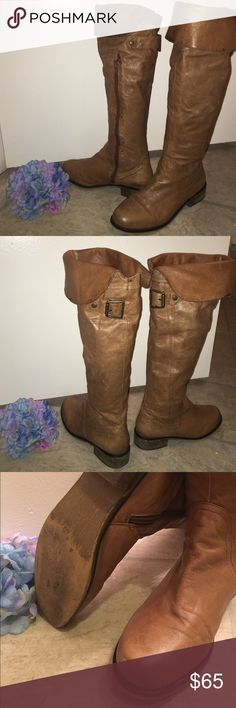 """Steve Madden OTK leather boots Supple brown leather upper in cognac with cute buckle detail at the back. Shaft height of 20.75"""" and 1.25"""" block heel. These have been worn a lot; light scuffing gives these baby's character.  Can be worn uncuffed over-the-knee or cuffed just below the knee. Great boot! Steve Madden Shoes Over the Knee Boots"""