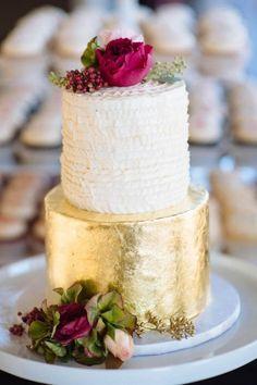 Fabulous gold foil wedding cake | Photo by Shane Macomber