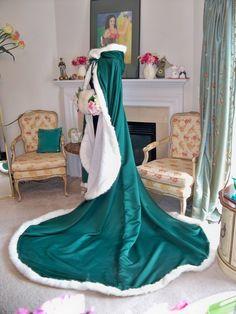 Bridal Cape 96 inch Emerald Green / White  Satin  with Fur Trim Wedding Cloak Handmade in USA. $250.00, via Etsy.