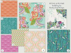 Aqua, Turquoise and Pink Baby Crib Bedding - Petal and Plume Bright