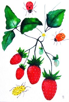 Strawberries Ladybugs Fruits Insects Original by CelineArtGalerie. , via Etsy.