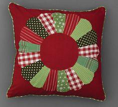 "Patchwork Wreath Christmas Pillow 20"""