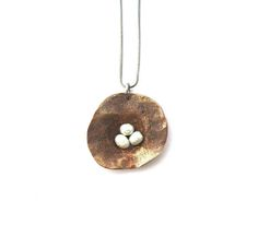 Copper pearl organic necklace hammered oxidised copper white