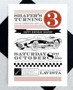 Race Car Party Invitations -- Birthday Party Invites, Boy's Birthday Party, Car Party