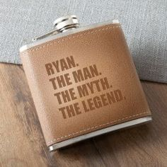 Man Myth Legend Tan Hide Stitched Flask