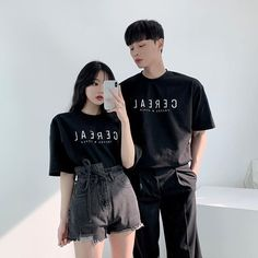 Image may contain: 2 people, people standing Matching Couple Outfits, Matching Couples, Cute Couples, Fashion Couple, Girl Fashion, Fashion Outfits, Korean Dress, Korean Outfits, Cute Korean Girl