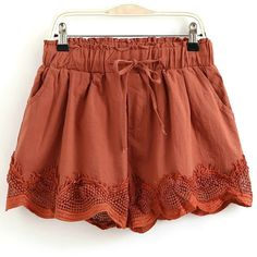 Crochet Splice Elastic Waist Drawstring Shorts ($99) ❤ liked on Polyvore featuring shorts, elastic shorts, crochet shorts and drawstring waist shorts