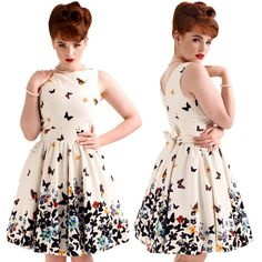 Lady Vintage London White Butterfly Tea Dress Rockabilly Pinup 50's Retro #LadyVintage