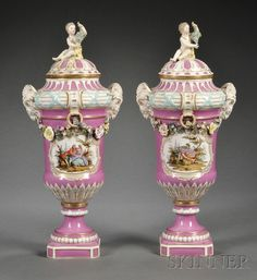 Pair of KPM Porcelain Pink Ground Vases and Covers