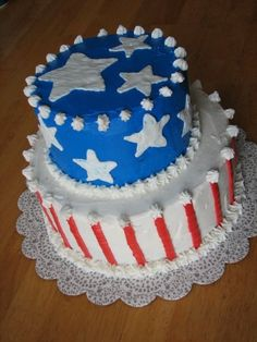 Same design, but all in one tier - stripes around sides, and blue background w/ white stripes on top of cake.