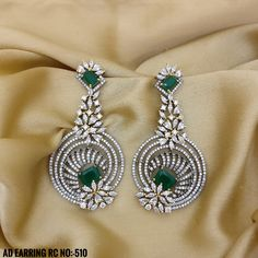 Emerald and White Stone Black Plating with Flower Style Earrings. Rama Creations Manufacturer & Wholesalers of Imitation Antique Jewellery in India. Diamond Earrings Indian, Diamond Necklace Set, Diamond Jewelry, Fashion Earrings, Fashion Jewelry, Diamond Party, Hanging Earrings, Antique Jewellery, White Stone